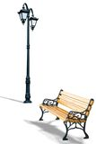 Bench and lamppost. On a white background royalty free stock photos