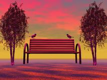 Bench and landscape Royalty Free Stock Photography