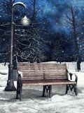 Bench and lantern in winter. Winter park with a bench, lantern and tall trees Stock Photos