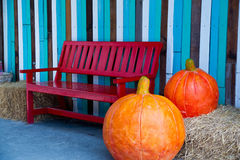 Bench. Large pumpkin sculptures placed near red bench stock photography
