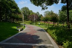 Bench on lawn by curbing painted path in sunny summer afternoon. A bench on the lawn by curving painted path in sunny summer afternoon,Chengdu,China stock photography
