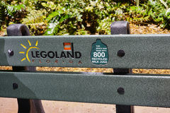 A bench in legoland made by 800 recycled milk jug Stock Images