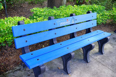A bench in legoland made by 800 recycled milk jug Stock Image