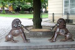 Bench with lions in Lviv Royalty Free Stock Photography