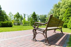 Bench in the local park Stock Image