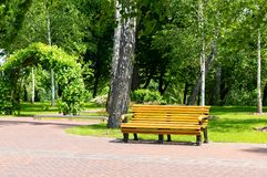 Bench in the local park Stock Images