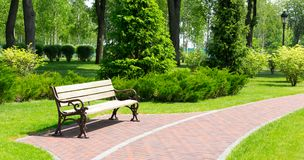 Bench in the local park. Wooden bench in a spring park Stock Photos