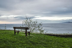 Bench looking over the Cantabrian Sea Stock Images