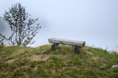 Bench at lookout point. In cloudy weather Royalty Free Stock Photos