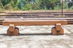 Bench made of old railroad ties Stock Image