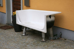 Bench made out of an old bathtub Stock Images
