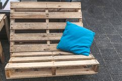 Bench made out of pallets royalty free stock images