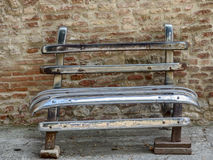 Bench made of spare car parts in Citta della Pieve in Umbria Stock Photography