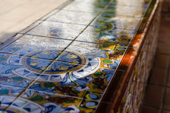 Bench in maiolica Royalty Free Stock Photography