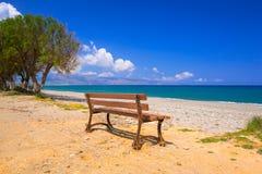 Bench at Maleme beach on Crete Stock Photos
