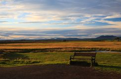 Bench in a meadow in Iceland. See my other works in portfolio royalty free stock image