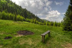 Bench in a meadow. Bench invites tourist to rest, relaxation and enjoy the scenery. The place can be also used to burning campfire royalty free stock image