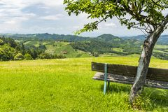 Bench on meadow with view to south styrian wine route Stock Photo