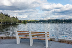 Bench And Mercer Island Royalty Free Stock Photo