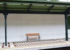Bench at metro station. Vintage looking waiting area at metro station royalty free stock photos