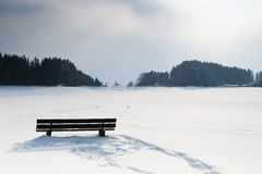 Bench in middle of a snowy winter landscape Stock Photography