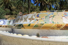 Bench with mosaics decoration in Park Guell Royalty Free Stock Photo