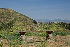 Hiking trail California bench mountain landscape Stock Photo