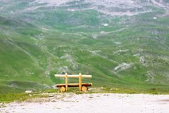 Bench in mountains Royalty Free Stock Photos