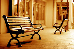 Bench museum sepia Royalty Free Stock Image