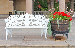 Bench near City hall in Stockholm stock image