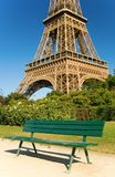 Bench near Eiffel Tower Stock Images