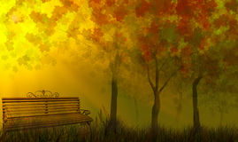 Bench  near fall golden trees in grass Royalty Free Stock Photo