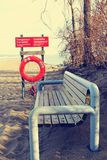 A BENCH NEAR LAKESHORE Royalty Free Stock Photos