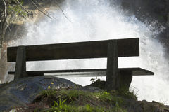Bench near Schraubenfall in Hintertux, Austria Royalty Free Stock Image