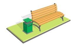 Bench nel parco con la pattumiera (metallo dei rifiuti Fotografia Stock