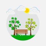 Bench nel parco, lo spazio di sosta, parco della molla Illustrazione Vettoriale
