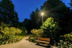 Bench nell'ambito dei raggi multicolori d'ardore di una lampada di via un sil immagini stock
