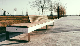 Bench in new Boulevard in Baku Royalty Free Stock Photo