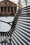 Bench in the Oakgrove On IUP Campus during winter royalty free stock photo