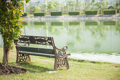 Bench On The Lawn Royalty Free Stock Photos