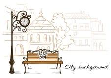 Bench, orologi della via, città del fondo del disegno a tratteggio Fotografie Stock Libere da Diritti