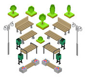 Bench. Outdoor park benches Icon Set. Wooden benches for rest in the park. Flat 3d isometric vector illustration for infographics. isometric details Park Royalty Free Stock Images