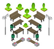 Bench. Outdoor park benches Icon Set. Wooden benches for rest in the park. Flat 3d isometric vector illustration for infographics. isometric details Park Royalty Free Stock Image