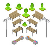Bench. Outdoor park benches Icon Set. Stock Photo