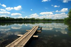 Bench over pond. Czech republic , east Europe Royalty Free Stock Photo