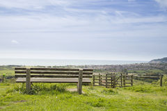 Bench overlooking a beautiful landscape Stock Photography