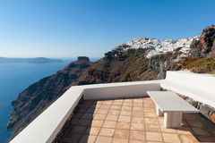 Bench overlooking Caldera of Santorini Greece Stock Image