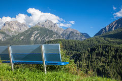 Bench overlooking Engadin Valley in Swiss Alps Royalty Free Stock Photos