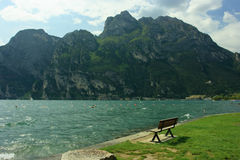 Bench overlooking lake Garda Stock Photos