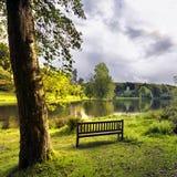 Stourhead Gardens. A bench overlooking the lake at Stourhead Stock Photo